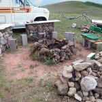 Gabion bar by firepit